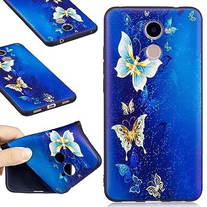 Guran® Carcasa Silicona TPU Protectora Funda Case para Huawei Y7 / Y7 Prime Smartphone Bumper Shock Cover Caso - Mariposa