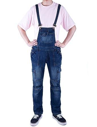 5e080161f9 Idopy Men`s Multi-Pocket Cargo Denim Bib Overall Shorts Shortalls Walkshort  Workwear at Amazon Men's Clothing store: