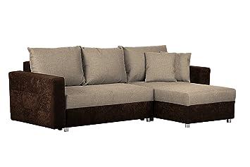 CAVADORE Schlafsofa Caaro Mit Recamiere Links Oder Rechts / Couch Mit  Schlaffunktion Und Bettkasten / Mit