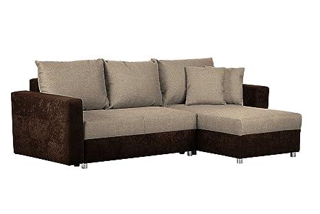 Cavadore Schlafsofa Caaro Mit Recamiere Links Oder Rechts Couch Mit Schlaffunktion Und Bettkasten Mit Materialmix 233 X 146 X 69