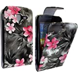 STYLEYOURMOBILE SAMSUNG GALAXY ACE 2 II i8160 VARIOUS PU LEATHER MAGNETIC FLIP CASE SKIN COVER POUCH (Pink Flower Dark Grey)