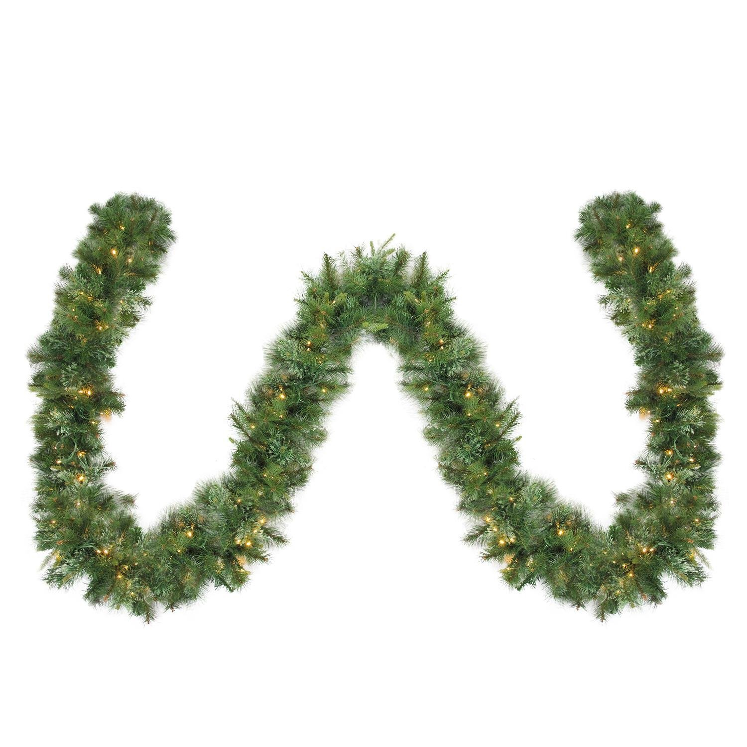 Northlight 50' x 14'' Pre-Lit Cashmere Mixed Pine Commercial Artificial Christmas Garland-Warm White LED Lights, Green