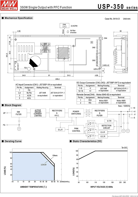 MW Mean Well USP-350-12 12V 29.2A U-bracket Switching Power Supplies