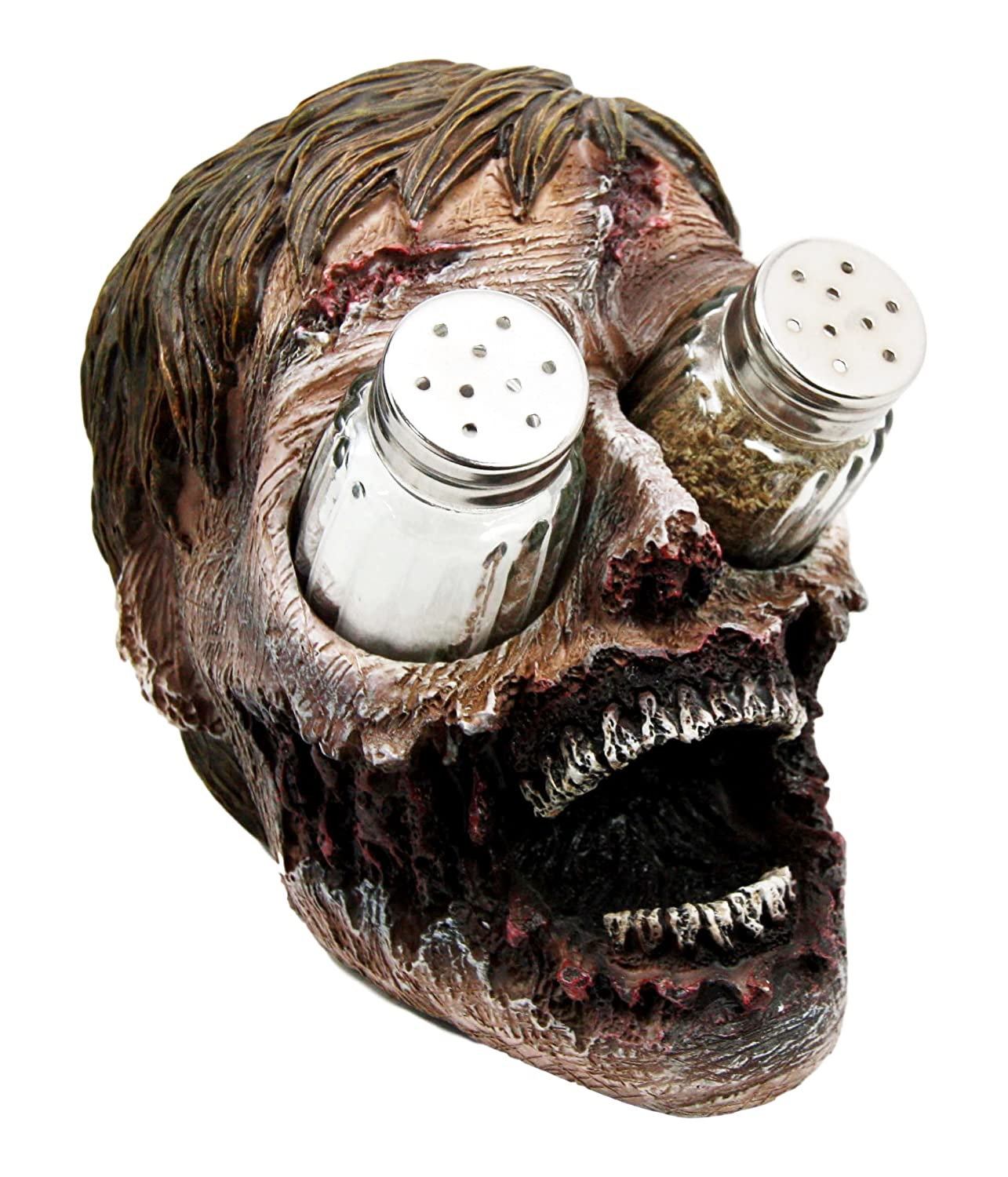 """Ebros Walking Undead Gory Eyeless Zombie Head Salt and Pepper Shakers Holder Figurine Set with Glass Shakers 5.5"""" H Scary Decor Statue"""