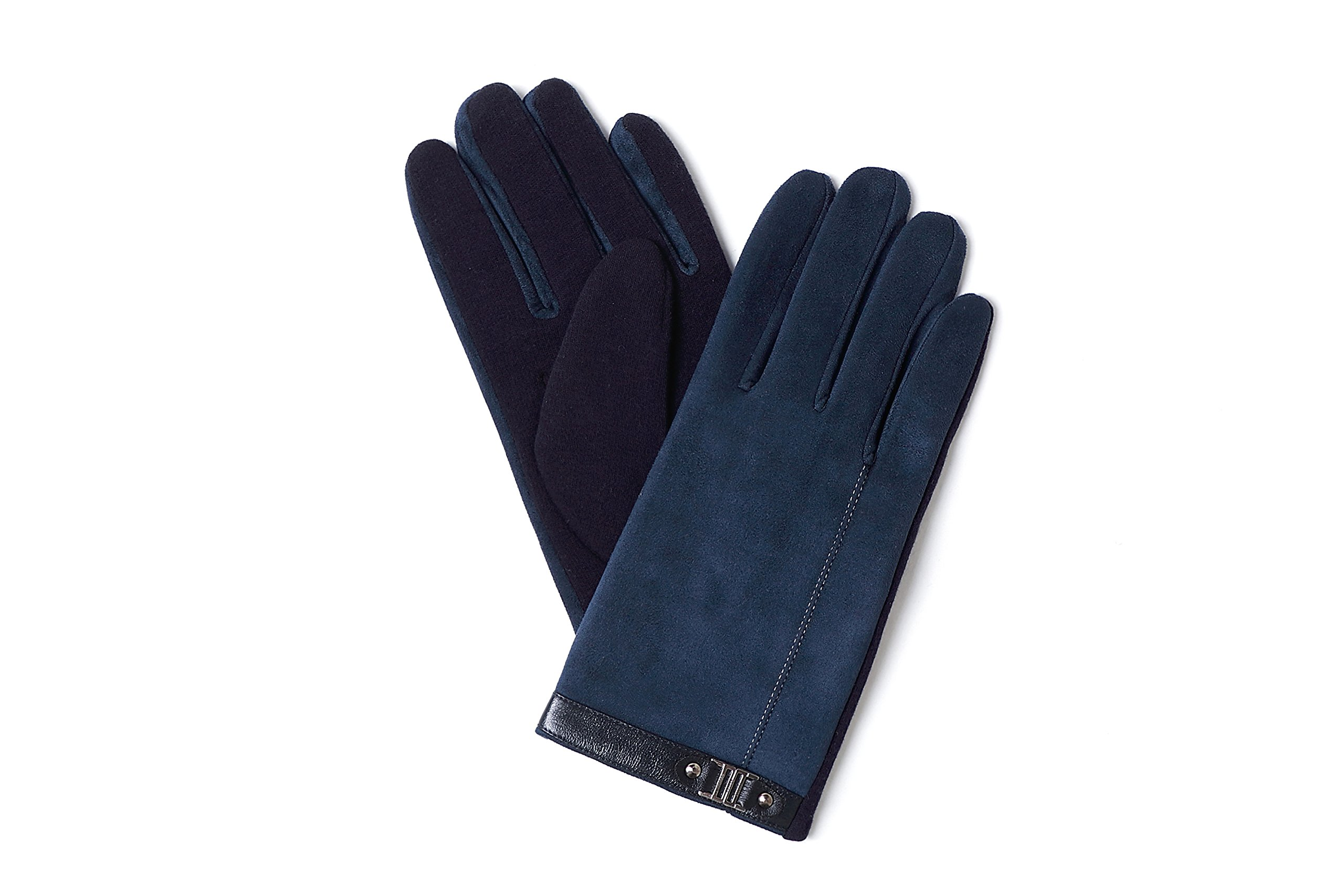 YISEVEN Men's Suede Chamois Leather Gloves Touchscreen Flat Design Plain Lined Luxury Soft Hand Warm Fur Heated Lining for Winter Spring Stylish Dress Work Xmas Gift and Motorcycle Driving, Blue M by YISEVEN (Image #2)