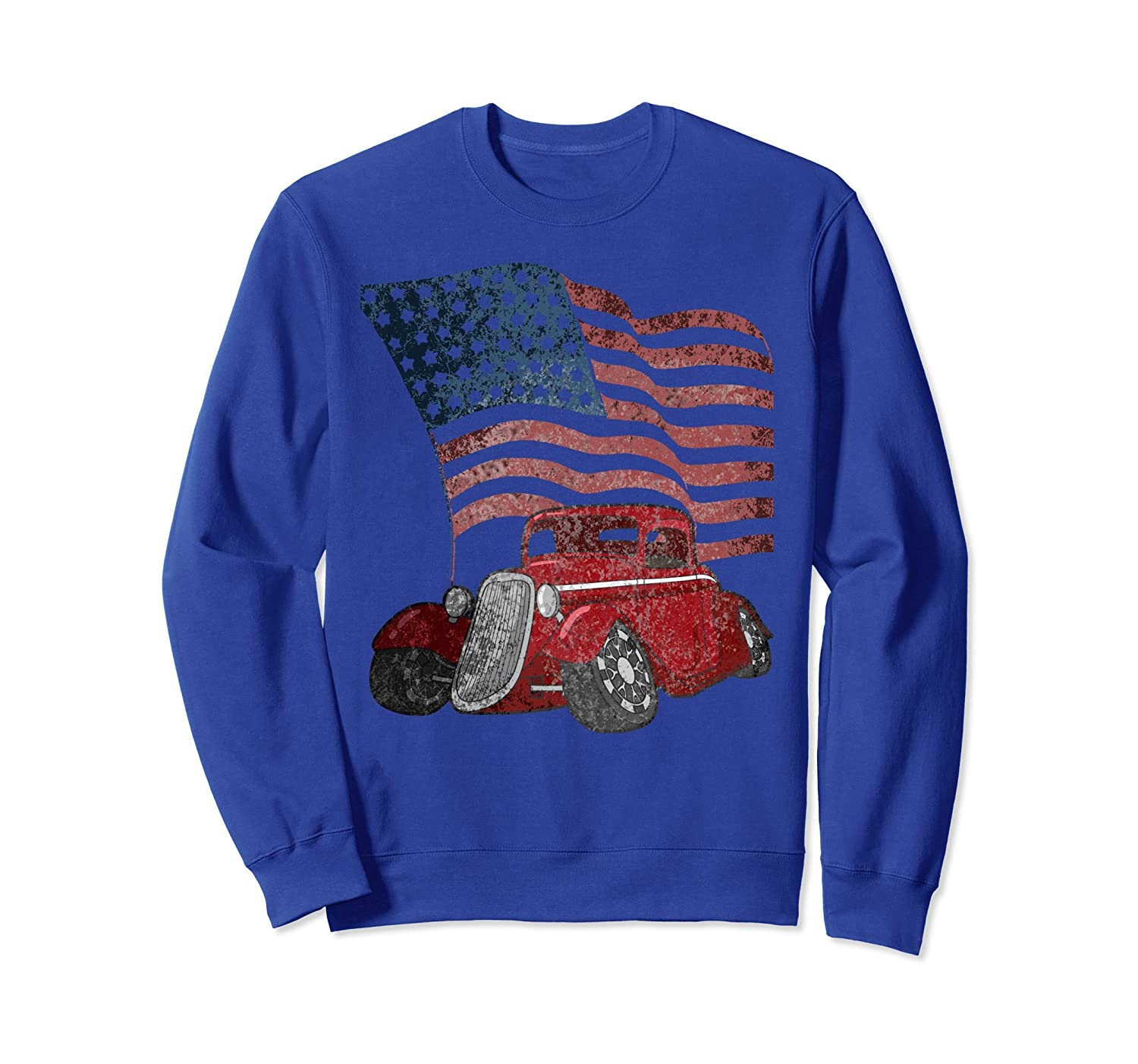 Classic America Distressed US Flag Hot Rod Sweatshirt-azvn