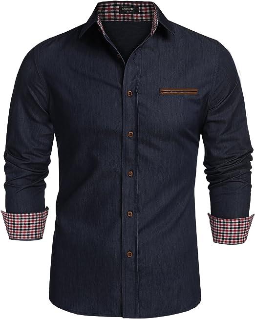 burlady Hombre Jeans camisas camisas Kent Cuello vaquero, manga larga Ocio Cowboy