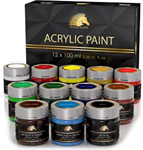 Acrylic Paint Set - 12 x 100ml Bottles - Heavy Body - Lightfast Paints - Artist Quality - MyArtscape
