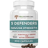 5 Defenders Mushroom Extract Powder Capsules for Immune Support & Digestion (200ct...