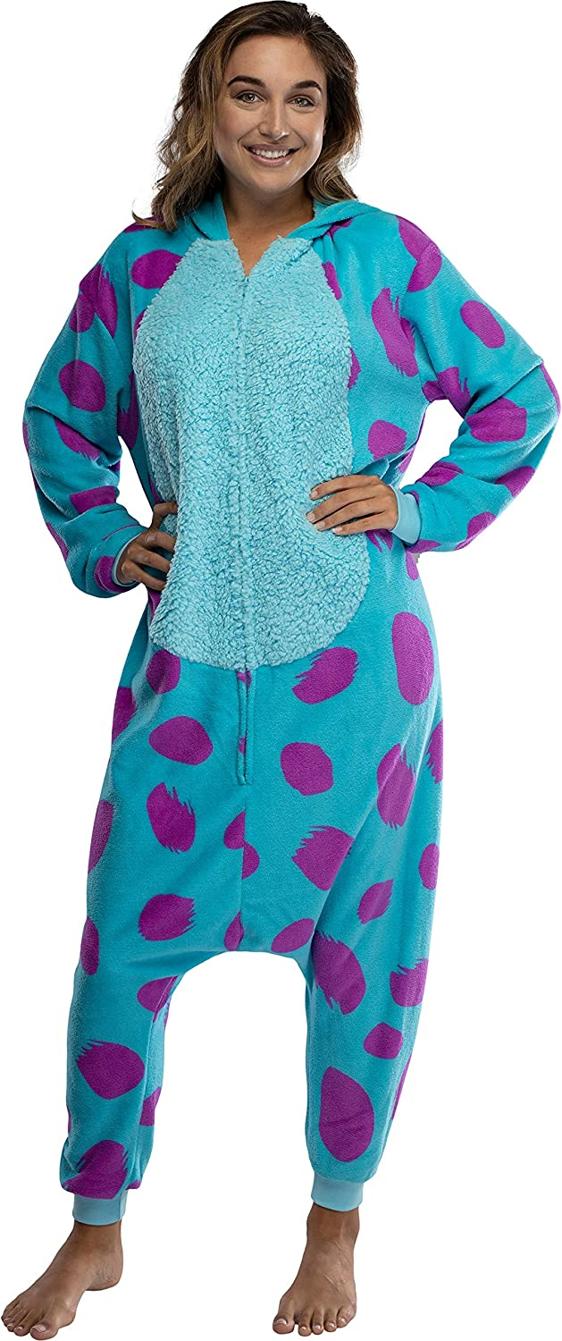 Amazon Com Disney Monsters Inc Adult Sulley Kigurumi Sherpa Fleece Cosplay Costume One Piece Union Suit S M Blue Clothing