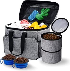 Breeze Touch Dog Travel Bag - Airline Approved Travel Set for Dogs Stores All Your Dog Accessories - Includes Travel Bag, 2X Food Storage Containers and 2X Collapsible Dog Bowls