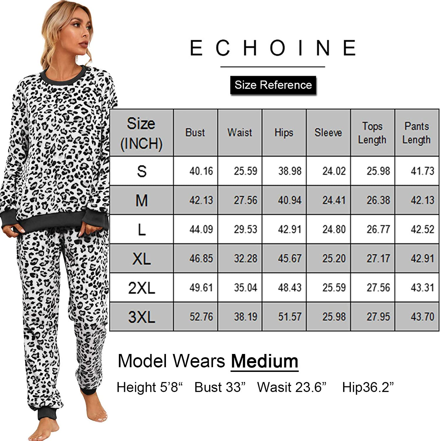 ECHOINE Womens Casual 2 Pieces Outfits Lounge Pajama Jogger Set with Pockets