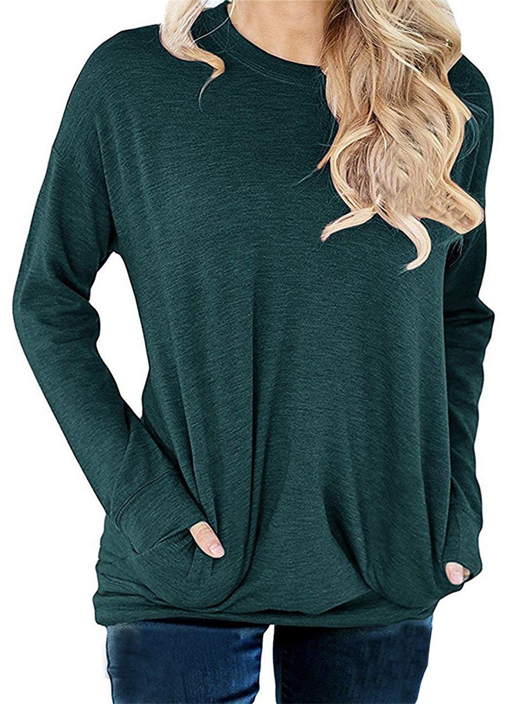 RJXDLT Women's Crew Neck Pullover Sweatshirts Casual Loose Tunic Tops Long Sleeve Shirts Blouses for Women Dark Green L