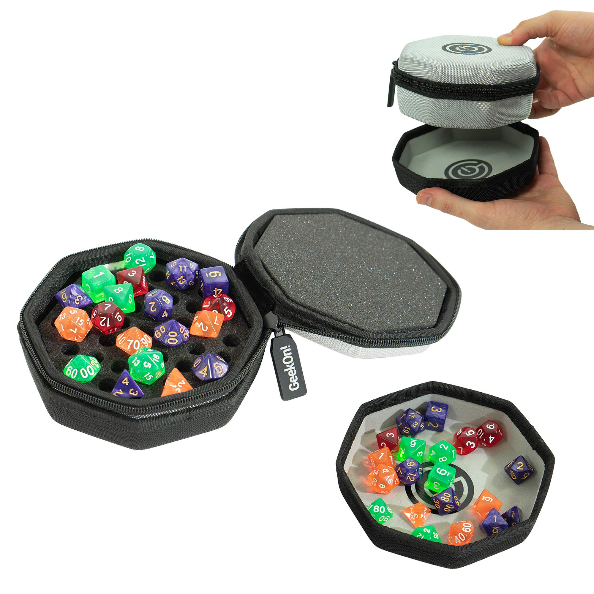 Protective Padded Dice Case & Integrated Felt Dice Tray for Board Games, Tabletop Games and RPGs - Holds & Protects Over 75 Dice! Perfect for Game Night! (Gray) by GEEKON
