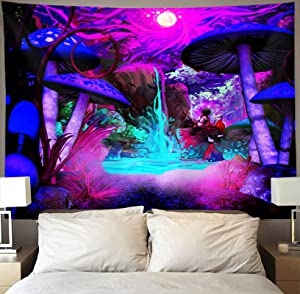 Trippy Mushroom Tapestry Wall Hanging Psychedelic Mountain Waterfall Tapestries Hippie Nature Forest Wall Art Black Light Starry Night Hoom Decor Extra Large Poster for Bedroom Dorm 60x80 Inch Purple