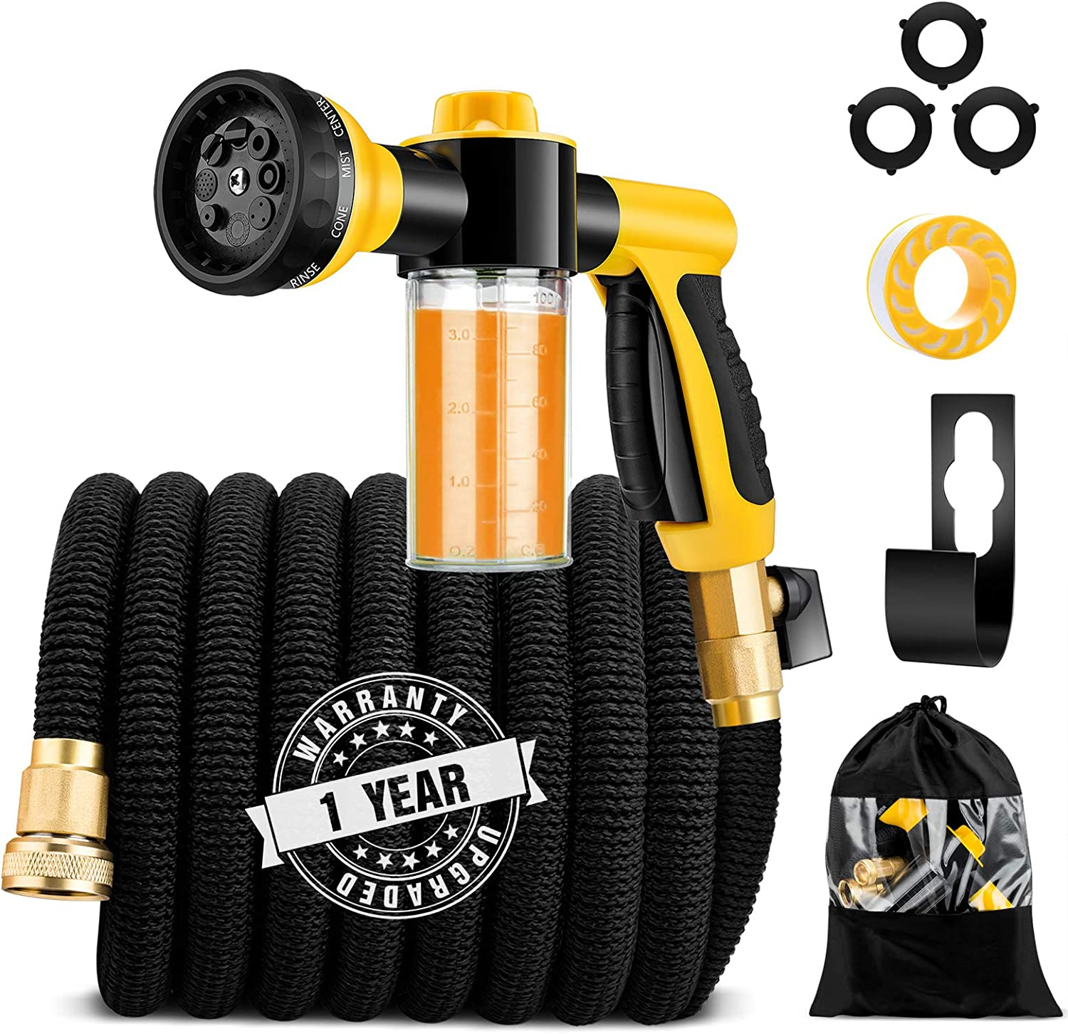 "50ft Expandable Garden Hose, Kink Free Leakproof Water Hose with Soap Dispenser Bottle and 8 Function Spray Nozzle, Flexible Hose with Double Latex Core and Super Strength 3/4"" Solid Brass Connector"