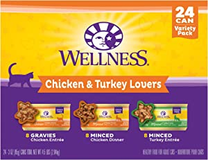 Wellness Complete Health Chicken & Turkey Lovers Variety Pack Wet Adult Cat Food, 3 oz., Count of 24