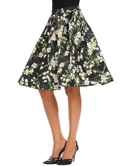 Zeela Falda Mujer Fiesta Plisada Falda Navidad Estampado Floral ...