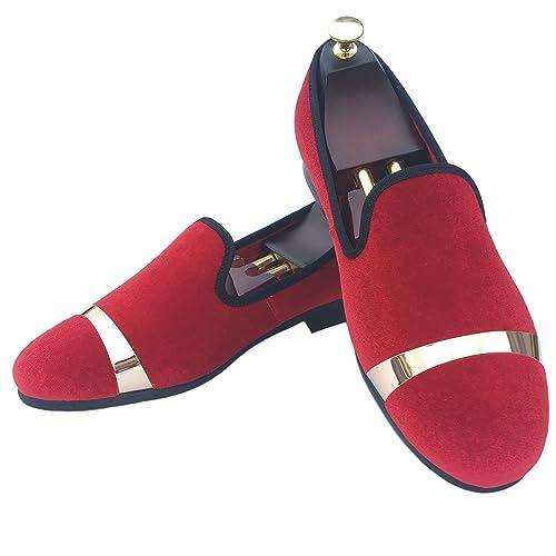 644c4342efd Justar Men's Velvet Loafers Slippers Wedding Dress Shoes with Gold Plate  Slip-on Flats
