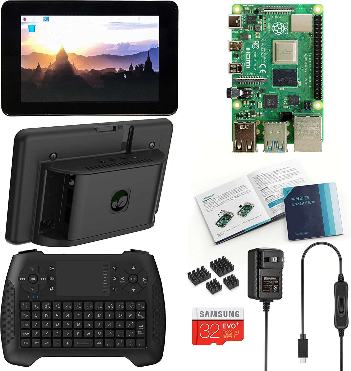 Vilros Raspberry Pi 4 Desktop with Official 7 Inch Touchscreen and Gaming Style Mini Keyboard/Touchpad Combo (2GB RAM)