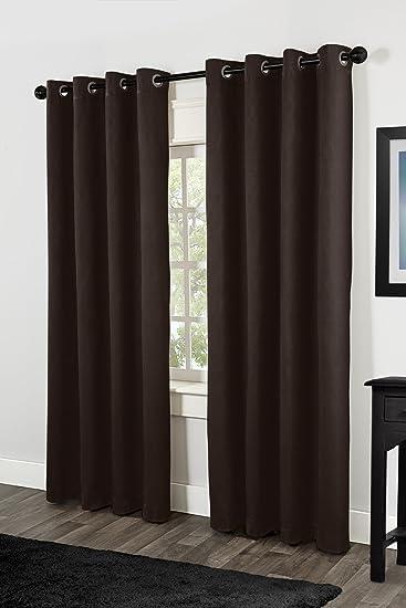 exclusive home curtains villamora textured linen look grommet top window curtain panel pair chocolate