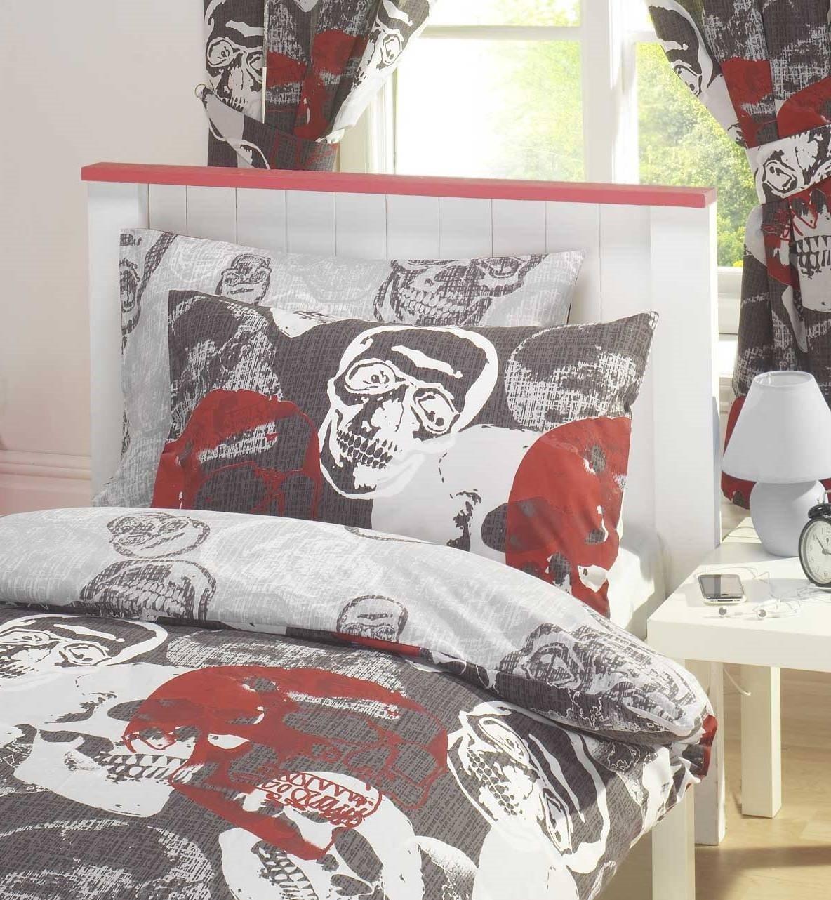 Skull Bedroom Curtains Skulls Luxury Fully Lined Ready Made Bedroom Curtains Set 66 X 72