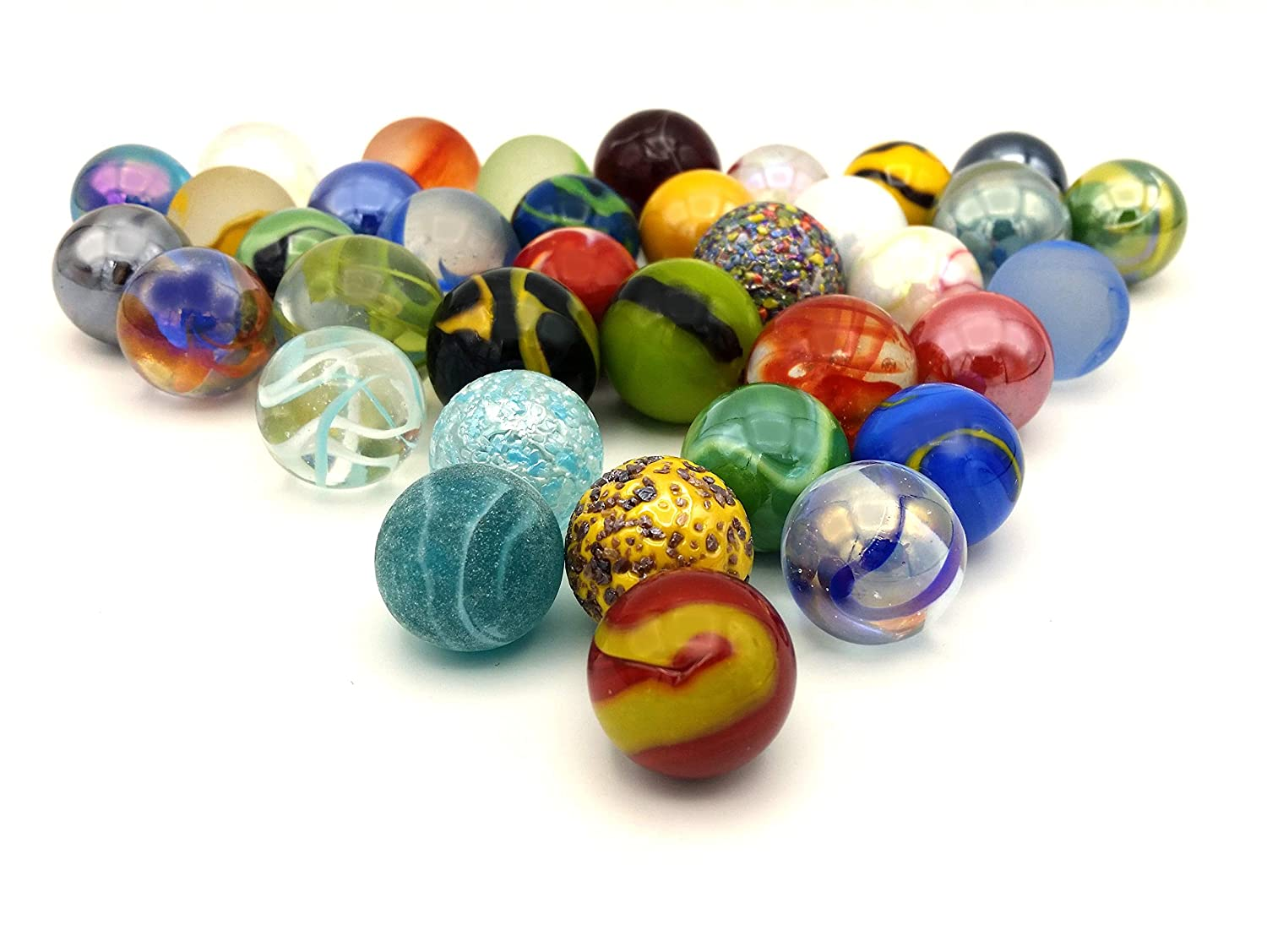 Mega Marbles Glass Shooters Set of 50 Assorted Colored Bulk 1 Shooter Marble for Games Vase Fish Aquariums Decorations