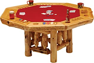 product image for 8-Sided Cedar Log Poker Table - Armor Finish Top - Optional Dining Table Cover in 3 finishes
