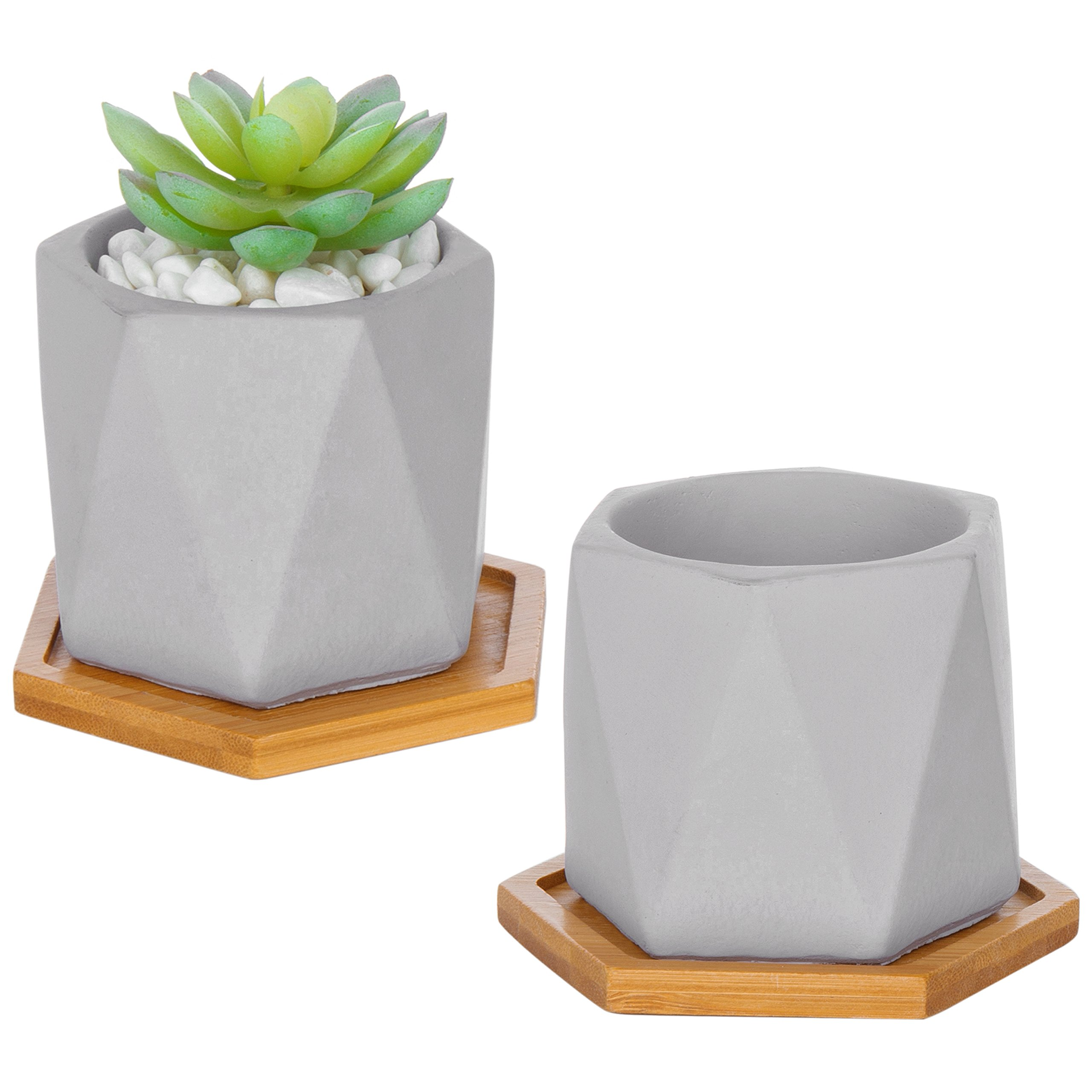 MyGift Geometric Cement Grey Succulent Planter Pots with Bamboo Drip Trays, Set of 2