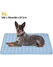 XL Pet Cooling Mat,Summer Cats and Dogs Kennel Bed Pad Travel Cool Cushion Pad,102 x 70cm/40 x 27.5 in,Blue