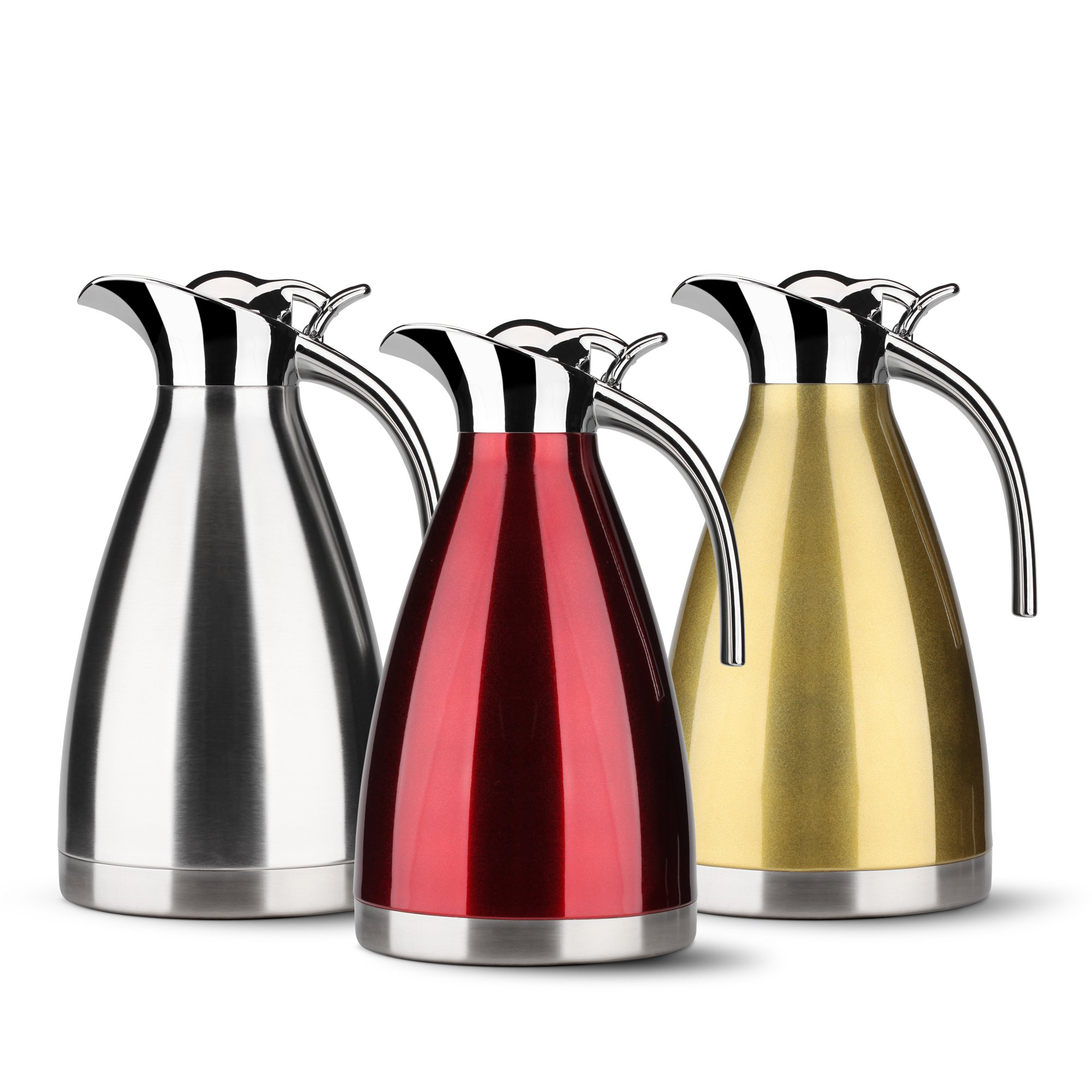 HOMKO Insulated Coffee Carafe - 68 oz Stainless Steel Thermal Carafe Coffee/12 cup Thermal Pitcher/12 Hour Heat Retention (Red)