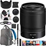 Nikon NIKKOR Z 35mm f/1.8 S Z Mount System Mirrorless Wide Angle Lens Bundle with Deco Gear Backpack + Photo and Video Professional Editing Software + 62mm Filter Kit, Monopod and Accessories