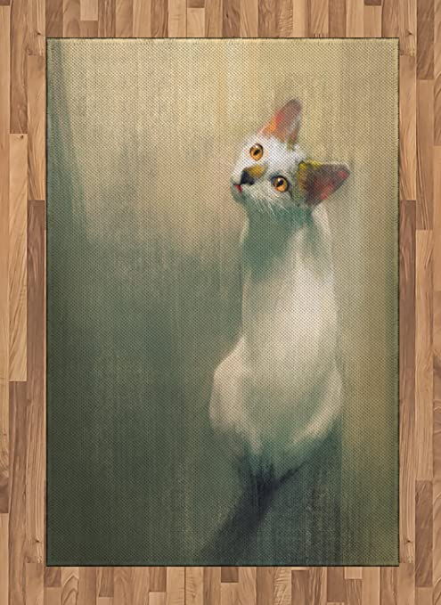 Ambesonne Cat Area Rug Young Kitten Looking Up Watercolor Composition Of House Pets Brush Marks Effect Flat Woven Accent Rug For Living Room Bedroom Dining Room 4 X 5 7 Beige White