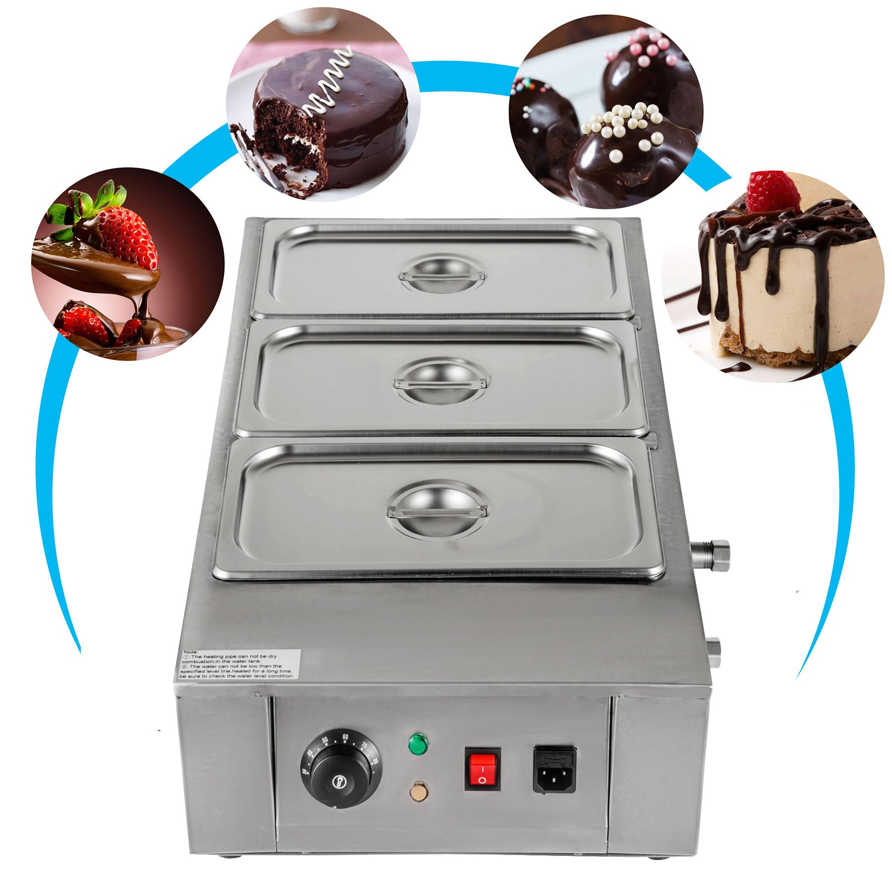 VEVOR 1KW Electric Chocolate Melting Pot Machine 3 Tanks 26.45lbs Capacity Commercial Home Electric Chocolate Heater Double Boiler Electric Chocolate Melter (3Tanks)