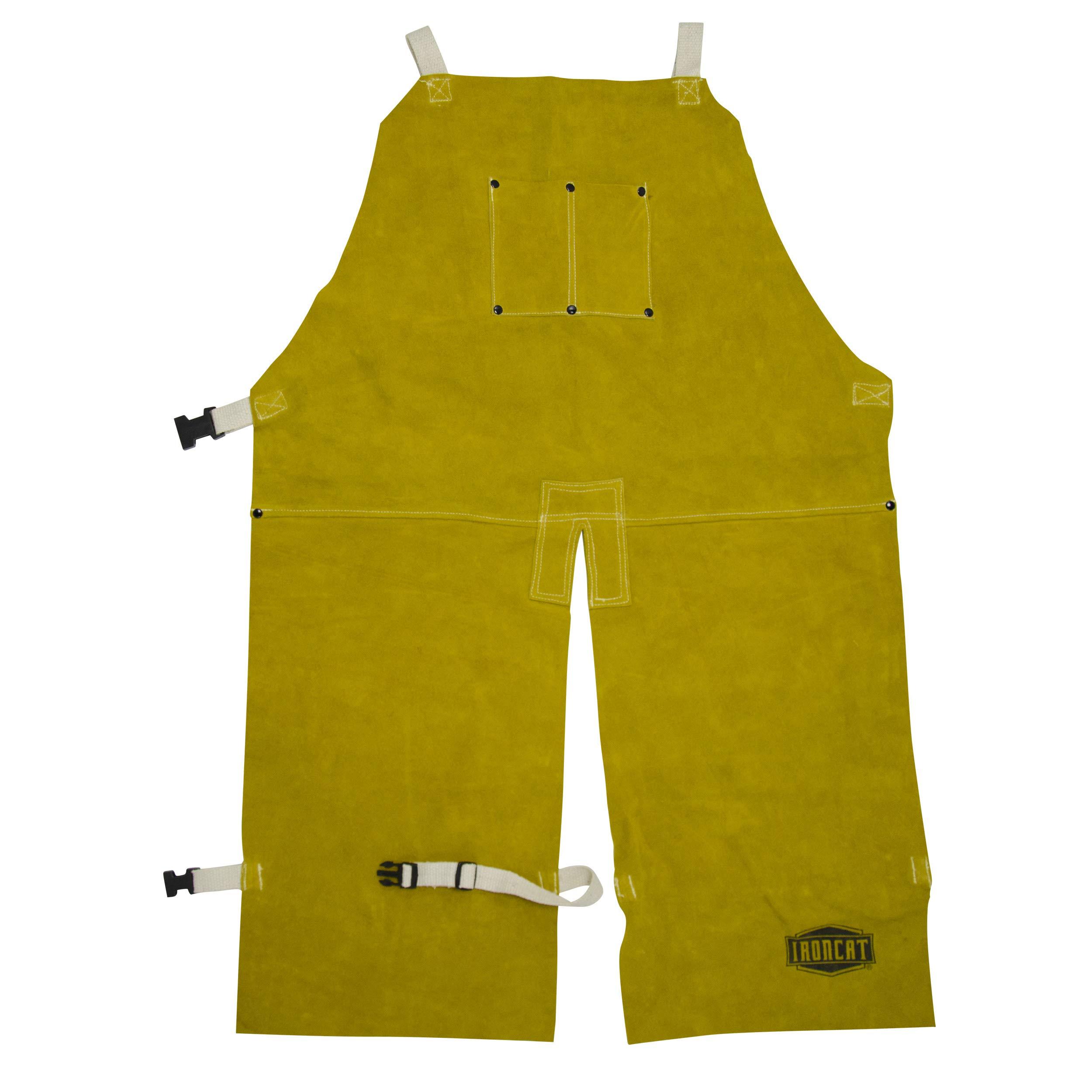 West Chester IRONCAT 7011 Heat Resistant Split Cowhide Leather Welding Split Leg Bib Apron, 24'' W x 48'' L