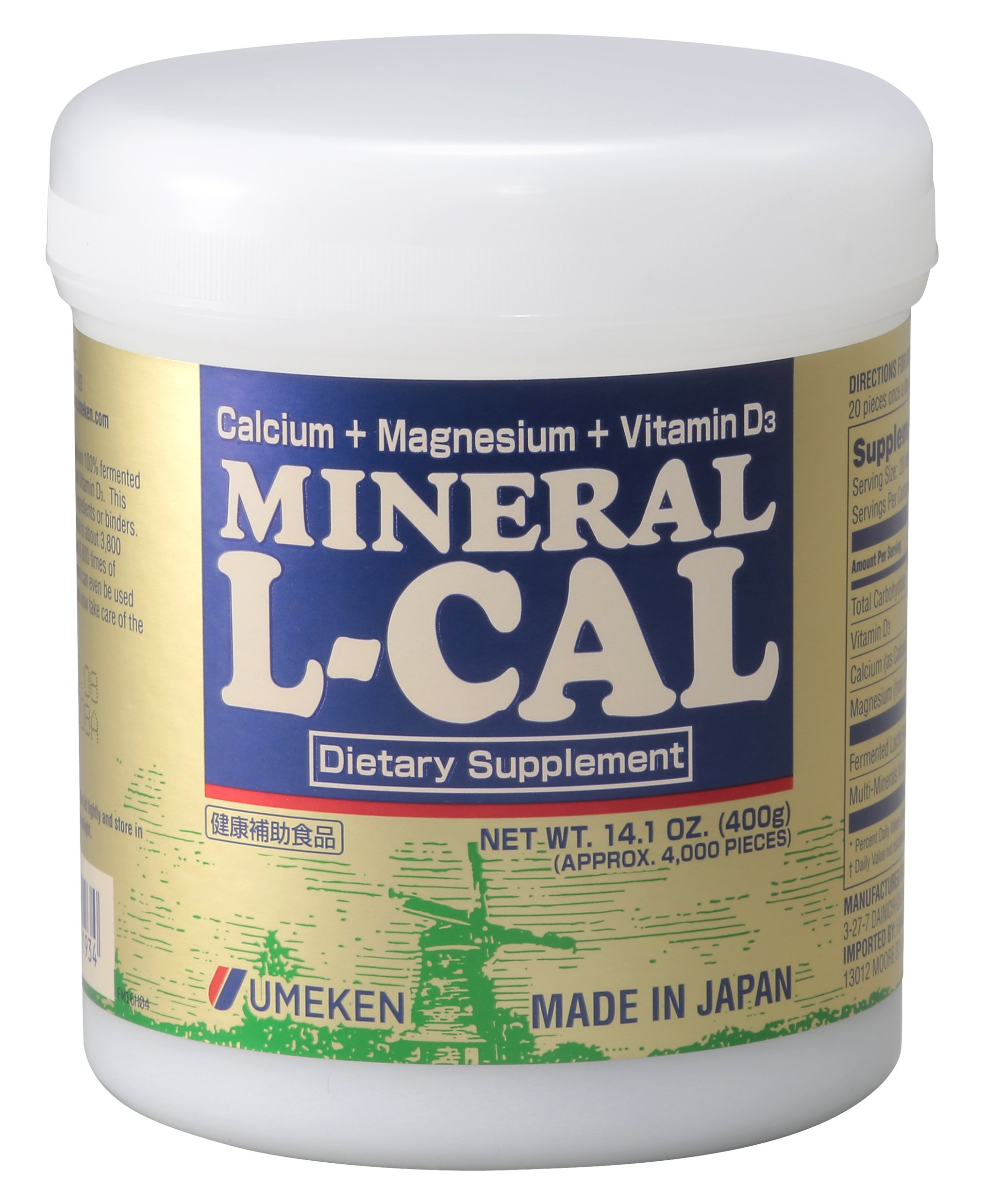 Umeken Mineral L Cal (Large Bottle) - Calcium Enriched with Magnesium, Vitamin D3 and Minerals. Water Soluble and Fast Absorbing. About 6 Month Supply. Made in Japan Free Gift! See Promotions.