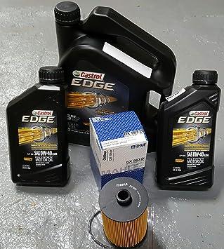 Cambio de aceite kit w/filtro de aceite Mahle ox983d y 7 QTS de Fórmula Europea Castrol Edge 0 W-40 Aceite sintético Full 06158: Amazon.es: Coche y moto