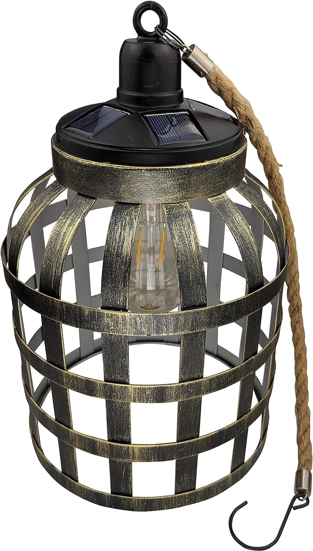 Yard Island Solar LED Edison Bulb Large Hanging Cage Lantern Style 5