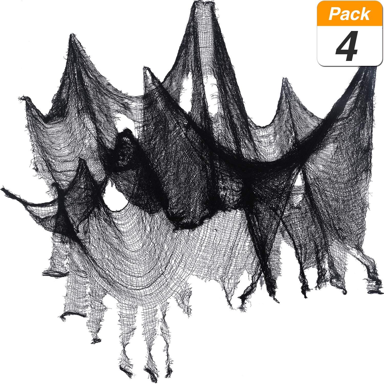 Jovitec 4 Pack Halloween Creepy Cloth, 30 by 72 Inch Freaky Loose Weave Creepy Cloth Fabric Scary Spooky Halloween Decoration (Black)