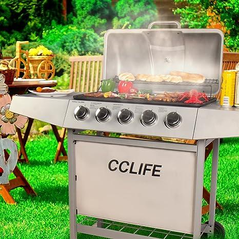 CCLIFE Carro Barbacoa de Gas Parrilla Barbacoa Gas con 3/4/5/6 quemadores BBQ, Color:Silver, Tamaño:5 Quemador