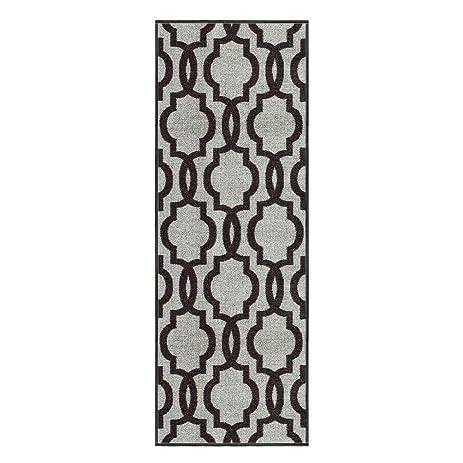 Custom Size Grey Moroccan Trellis Rubber Backed Non Slip Hallway Stair Runner  Rug 22in X