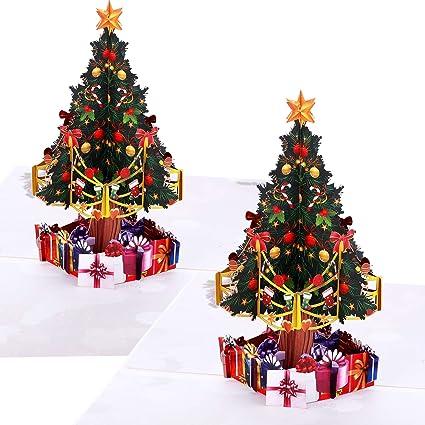 2 Piezas de Tarjetas de Felicitación de Navidad con Sobres Tarjetas de Navidad en Diseño de Árbol Pop Up 3D Tarjetas de Regalo para Navidad Fiesta de ...