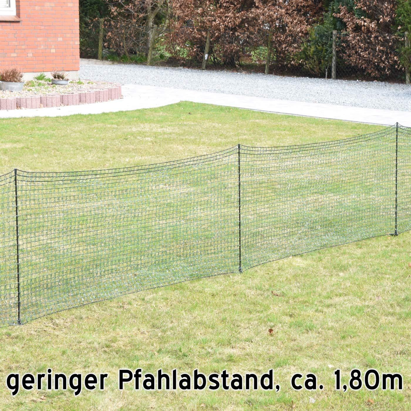 Welpenzaun Beetschutz dunkelgr/ün VOSS.farming Gartennetz Universal Begrenzungszaun Classic 20 m Premium 80 cm 12 Pf/ähle Hundezaun