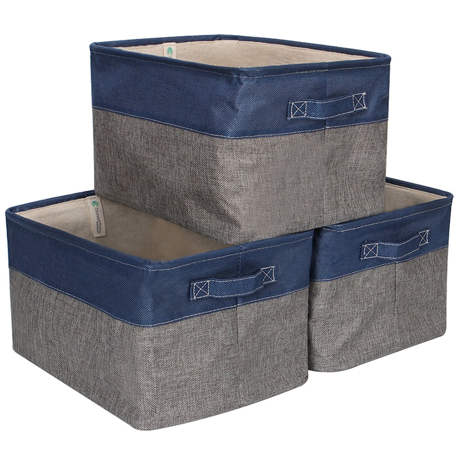 StorageWorks Storage Basket, Foldable Polyester Linen Cloth Bin Organizer, Blue and Gray, Large, 3-Pack
