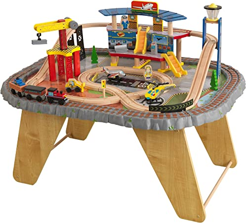 KidKraft Transportation Station Wooden Train Set and Table with Airport, Helicopter, 58 Pieces Included ,Gift for Ages 3+