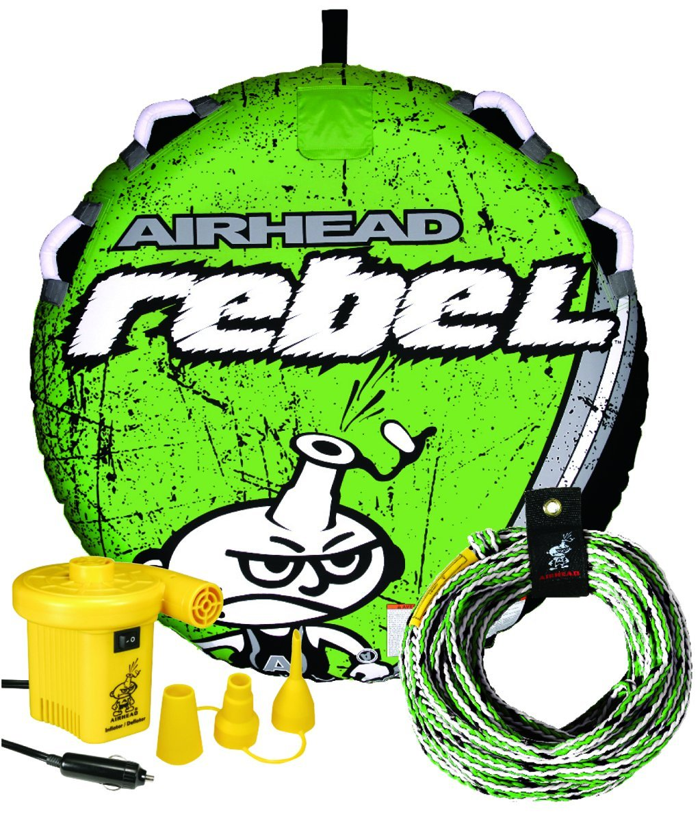 Airhead Rebel 54 Inch 1 Person Durable Red Towable Tube Kit w/Rope and 12V Pump