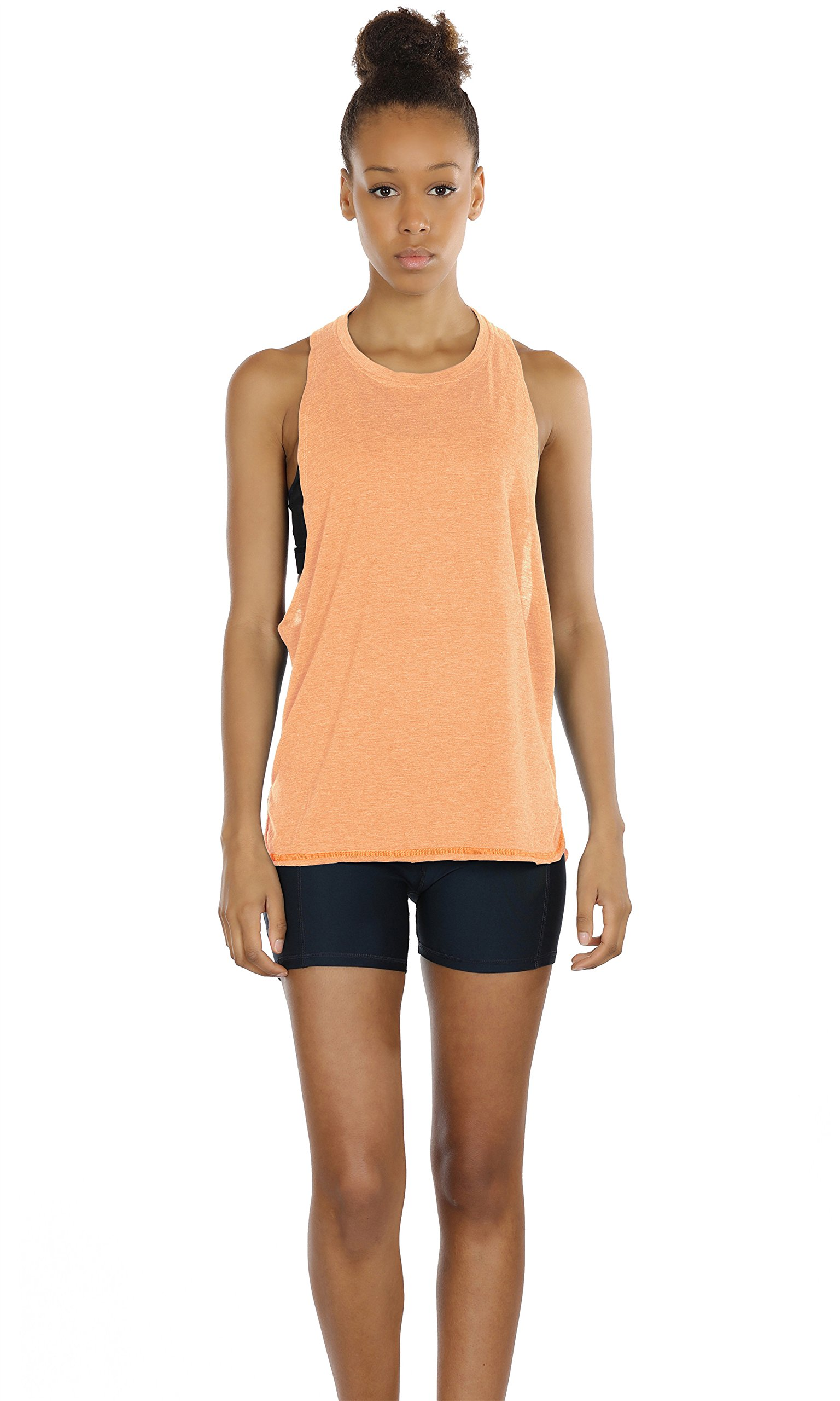 icyZone Yoga Tops Activewear Workout Clothes Sports Racerback Tank Tops for Women (XL, Pumpkin)