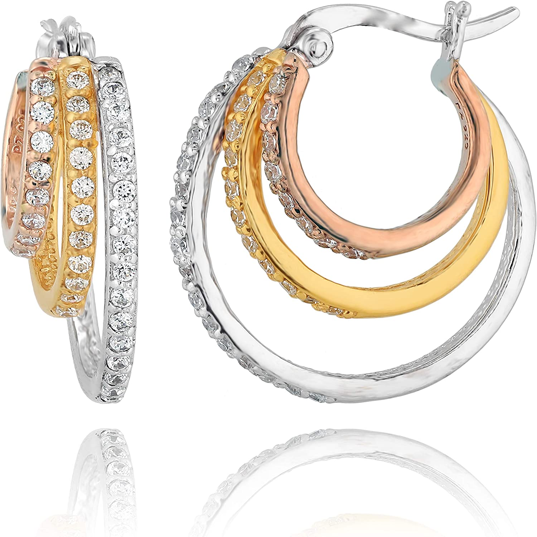 PZ Paz Creations Tri- Color Sterling Silver Triple Hoop Cubic Zirconia Earrings