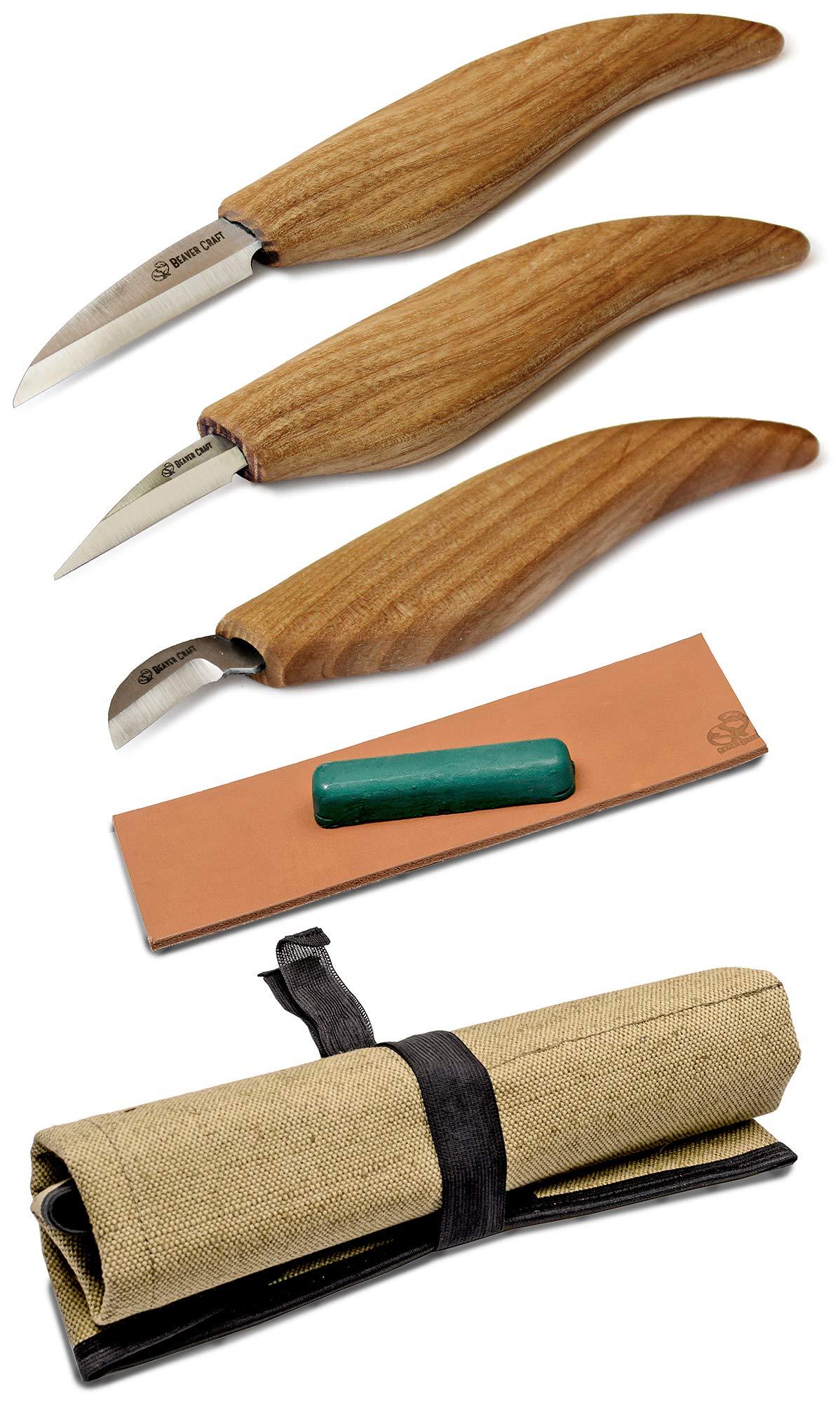 BeaverCraft S15 Whittling Wood Carving Kit - Wood Carving Tools Set - Chip Carving Knife Kit - Whittling Knife Set Whittling Tools Wood Carving Wood for Beginners (Chip Carving Knife Kit) by BeaverCraft