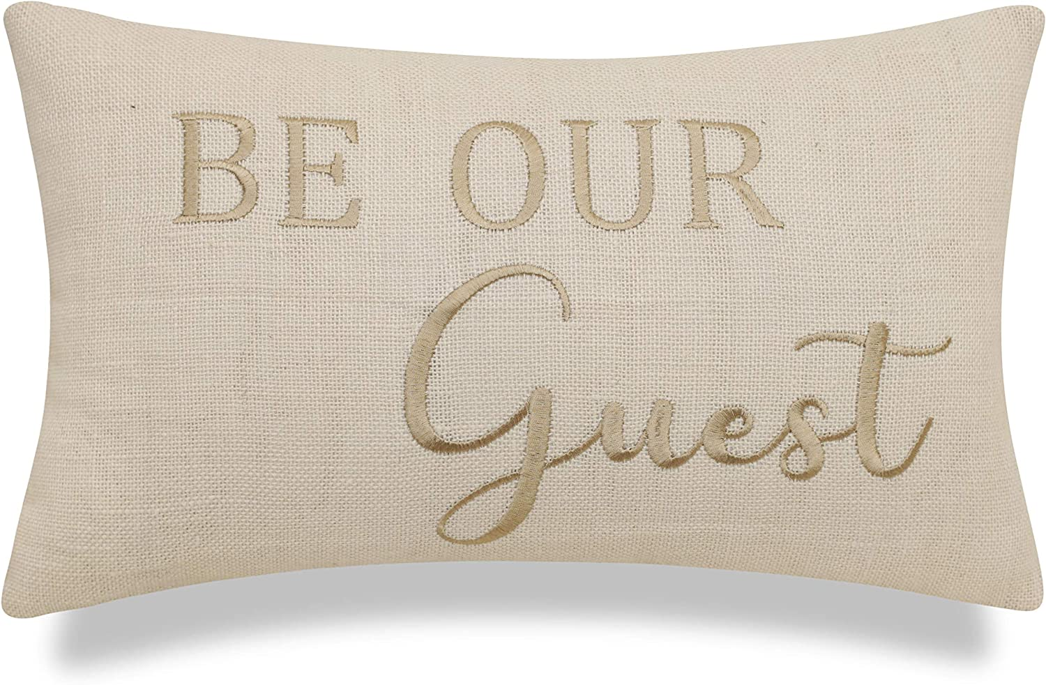 EURASIA DECOR Be Our Guest Embroidered Burlap Decorative Lumbar Accent Throw Pillow Cover - Entryway Decor - Offwhite, 12x20